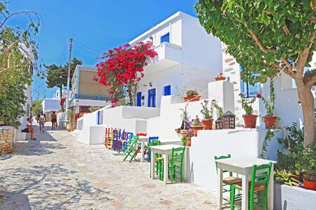ANO KOUFONISI GREECE, AUGUST 26 2019: traditional architecture of Ano Koufonisi island Cyclades Greece. Editorial use.
