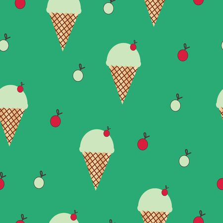 seamless pattern with ice cream cone vector on green background