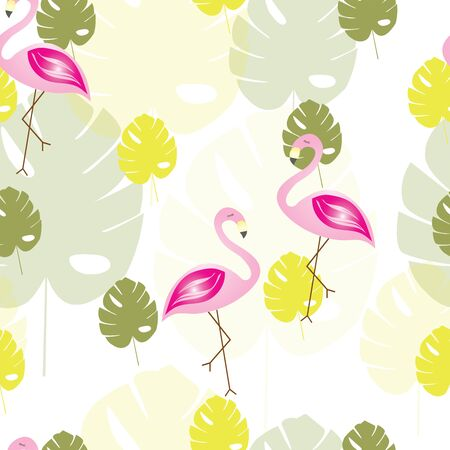 seamless pattern with flamingos and tropical leaves vector - summer theme