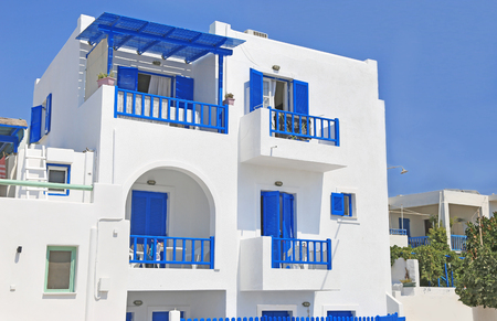 traditional houses with blue details at Ano Koufonisi island Cyclades Greece - Koufonisia Greece Editorial