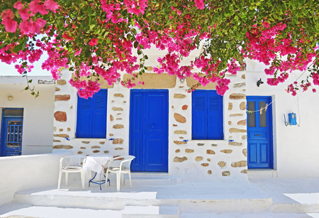 traditional yard with bougainvilleas at Ano Koufonisi island Cyclades Greece Editorial