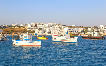 landscape of Ano Koufonisi island Cyclades Greece - traditional fishing boats at the harbor