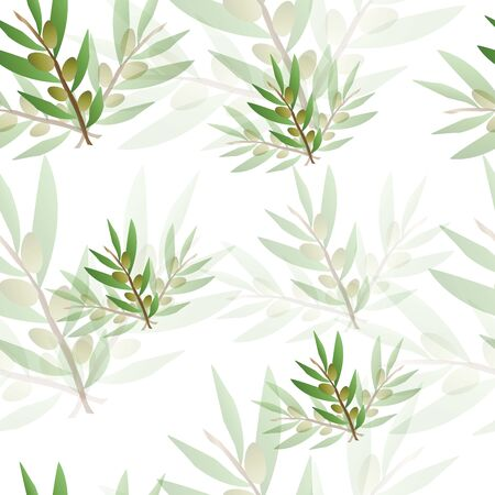seamless pattern with olive trees vector - green floral pattern Çizim