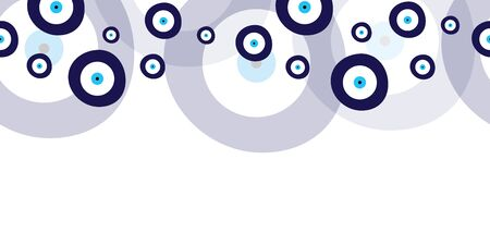 seamless horizontal banner with blue evil eyes vector