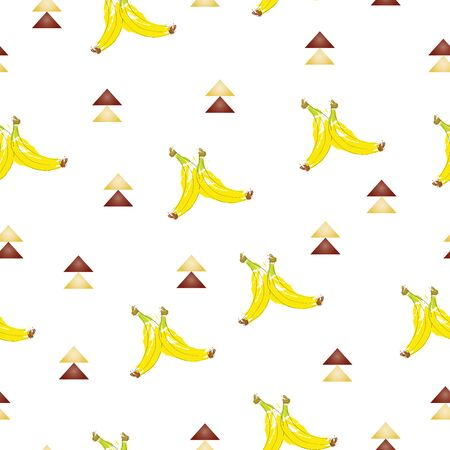 seamless pattern with bananas and brown triangles vector