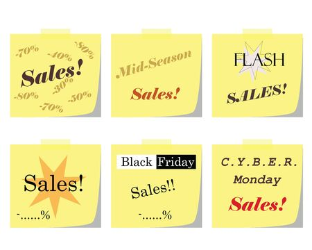 six post paper notes vector set with business sales logos - black friday - cyber monday - flash sales