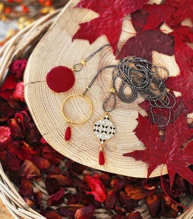pendant necklaces on wooden tree bark with red autumn leaves background - autumn fashion jewelry advertisement