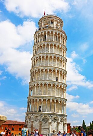 PISA ITALY, JUNE 02 2018: the leaning tower of Pisa Italy - famous italian landmarks with tourists. Editorial use.