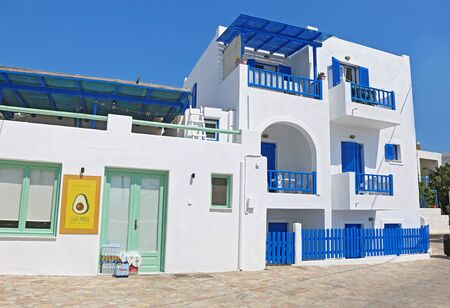 ANO KOUFONISI GREECE, AUGUST 27 2019: traditional white houses at Ano Koufonisi island Cyclades Greece. Editorial use. Editorial