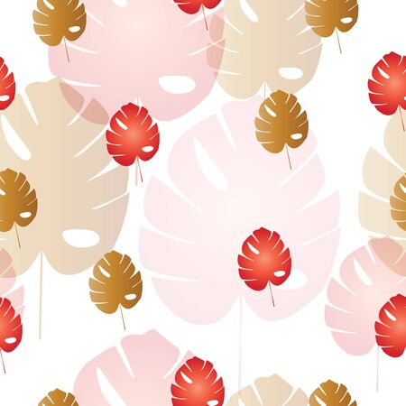 seamless pattern with leaves vector in red and brown colors - autumn theme Ilustração