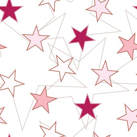 seamless pattern with stars in pink colors vector on white background