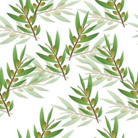 seamless floral pattern with green olive trees vector
