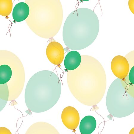 seamless pattern with balloons - green and yellow theme on white background