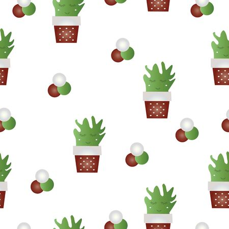 seamless pattern with cactus flowers vector