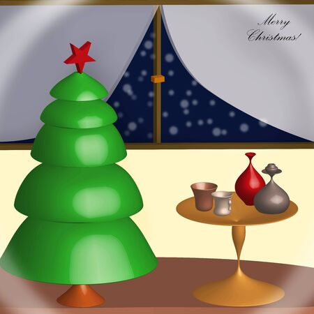 merry Christmas card - night home scene illustration - Christmas tree and table with glasses