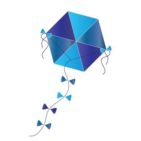 kite vector in blue and turquoise colors isolated on white background Vektorové ilustrace