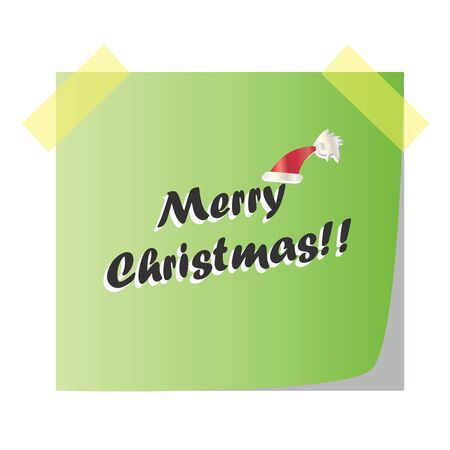 Merry Christmas post note paper vector