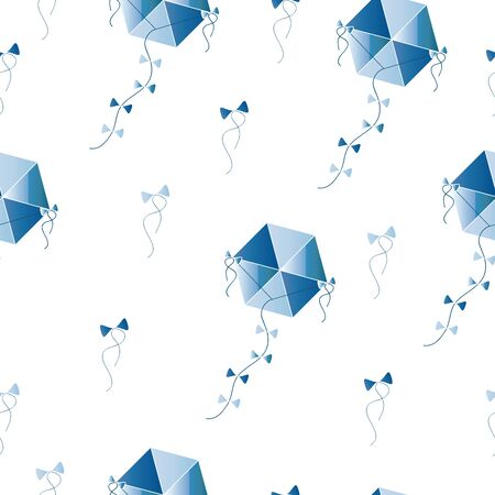 seamless pattern with blue kites vector