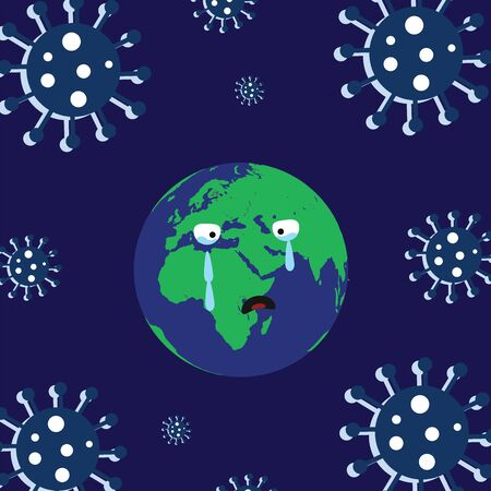 earth cartoon crying - virus icon vector on blue background - coronavirus