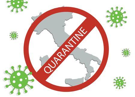 Italy map in quarantine - corona virus icon