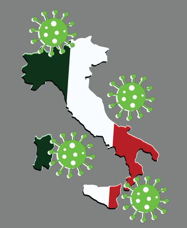Italy map vector and italian flag with coronavirus - covid 19 - dark grey background
