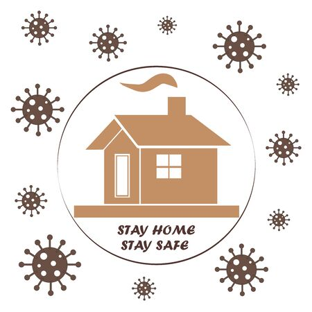 stay home - stay safe with house and virus icons vector