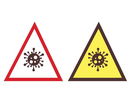 caution sign - two warning triangles with virus icons