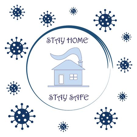 stay home - stay safe - house and virus icons vector