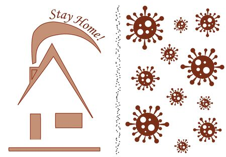 stay home logo - virus icon vector - coronavirus protection