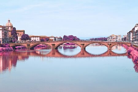 infrared landscape of Arno river Florence Italy
