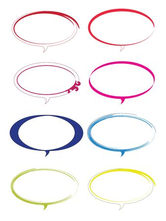 set of eight dialogue boxes in multiple shapes and colors vector