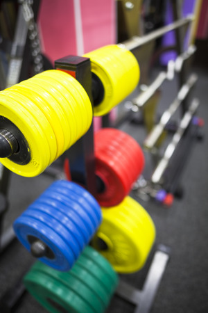 powerlifting: weights for powerlifting Stock Photo