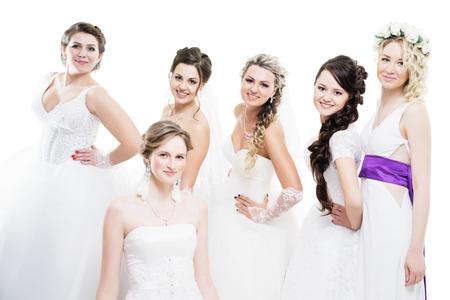 6 の花嫁が白で隔離