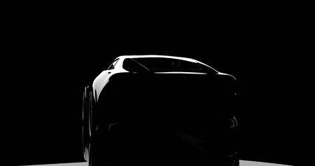 silhouet van zwarte sportwagen op zwart
