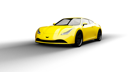 yellow sports car isolated on white background Stock Photo