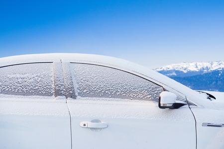 frozen car outdoors 写真素材