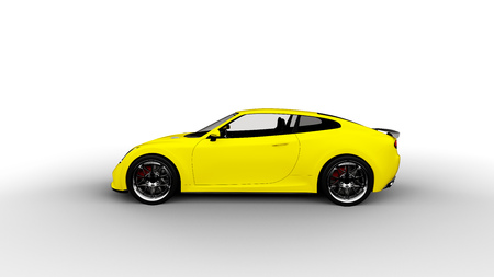 yellow sports car isolated on white background 写真素材