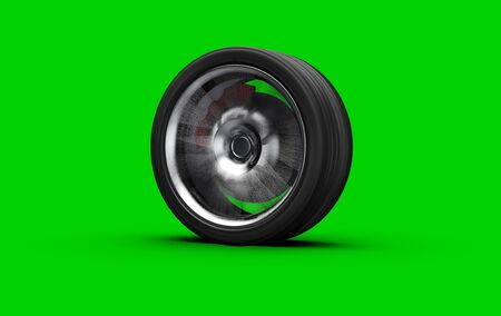 alloy whell spinning, motion blur, isolated on white background