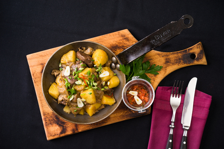 freshly cooked meat and potatoes