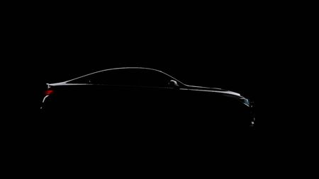 silhouette of black sports car on black 写真素材