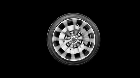 alloy whell spinning, motion blur, isolated on black background, photorealistic 3d render, generic design, non-branded