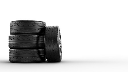 stack of new tires, isolated on white background