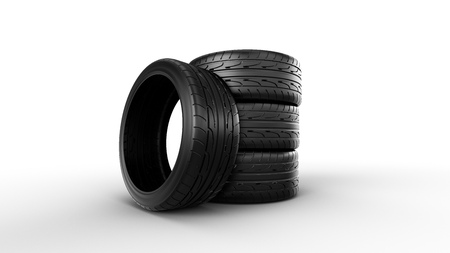 stack of new tires , isolated on white background