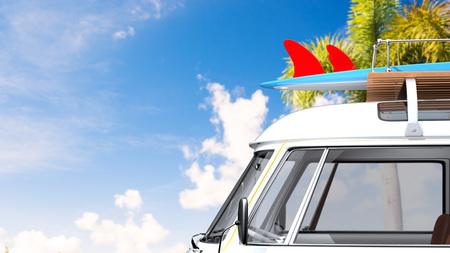 vintage van by sea