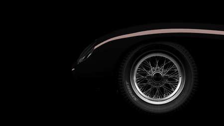 silhouette of black vintage sports car