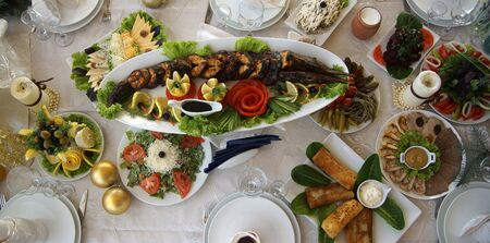 sturgeon: Armenian traditional table with Sturgeon