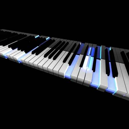 3D piano keyboard with lighting pushed keys photo