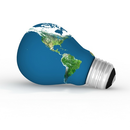 Eco energy metaphor - 3D lightbulb with worldmap. photo