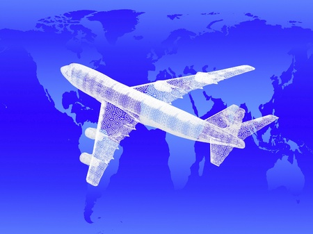 model of jet airplane on worldmap background. Concept - global travel. photo