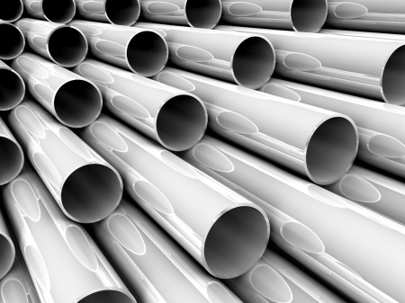 3D chrome tubes - high technology background. photo
